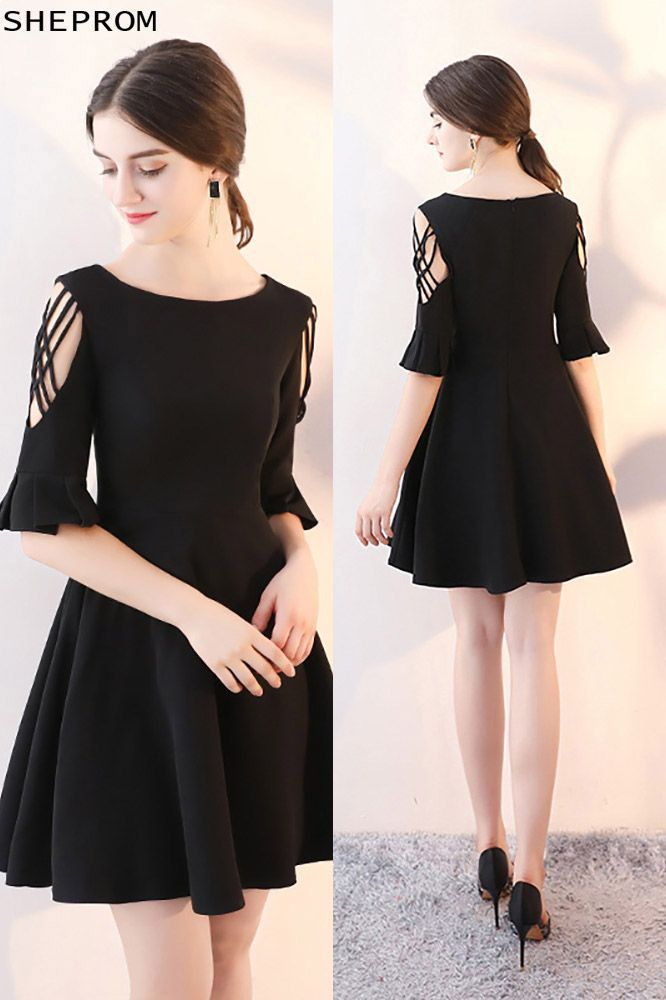 74 Short Black Homecoming Dress Flare Aline With Sleeves Htx86031