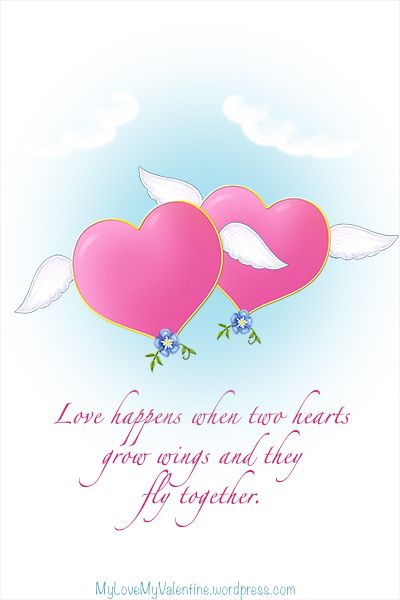 a valentine s day message for him or her when two hearts fly