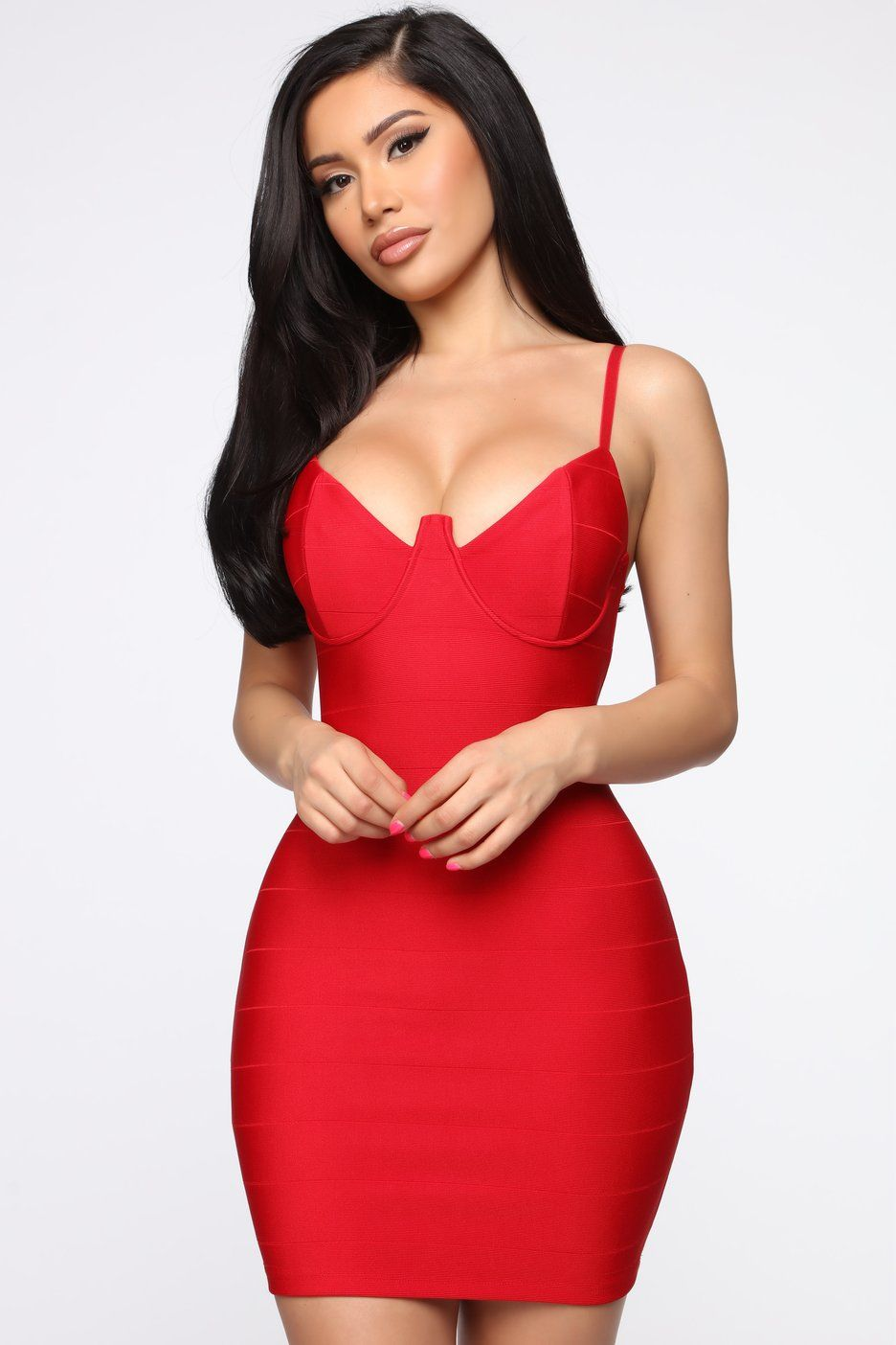 Playful Night Bandage Mini Dress Taupe in 2021 Red