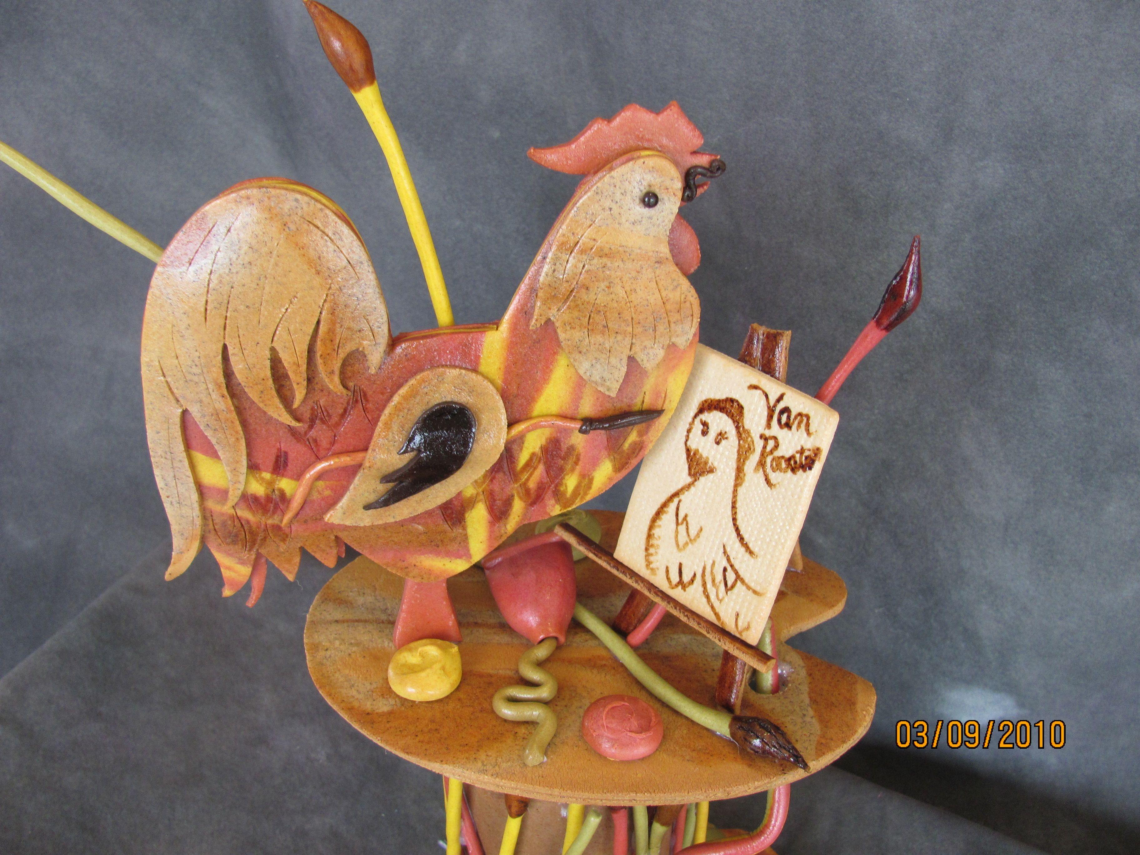 Dead dough rooster showpiece