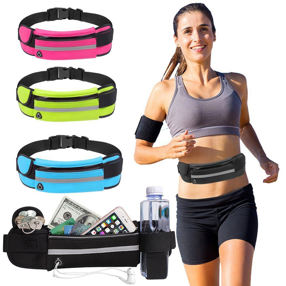 Unisex Water Resistant Phone Holder Adjustable Sport Fanny Pack for Workout Reflective Sports Running Belt Waist Pack Ultra Thin No-Bounce Runner Pouch Exercise Gym and More Jogging Fitness