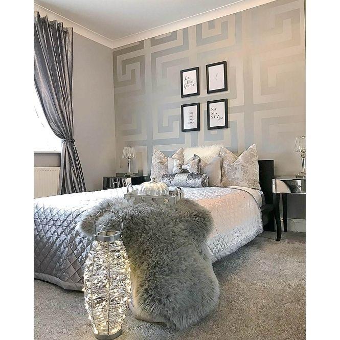 Large Greek Key Wallpaper Silver in 2020 Modern