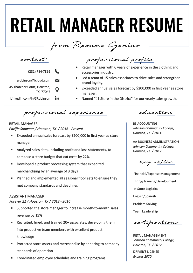 Retail Manager Resume Example & Writing Tips (With images