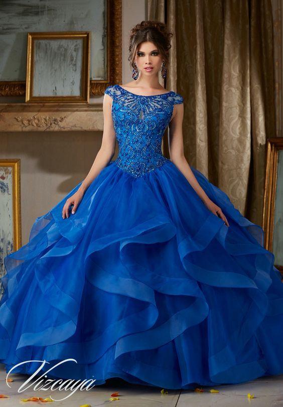 Vestidos de 15 largos azules