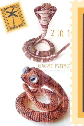 Crochet snake and cobra patterns, Crochet pack, 2