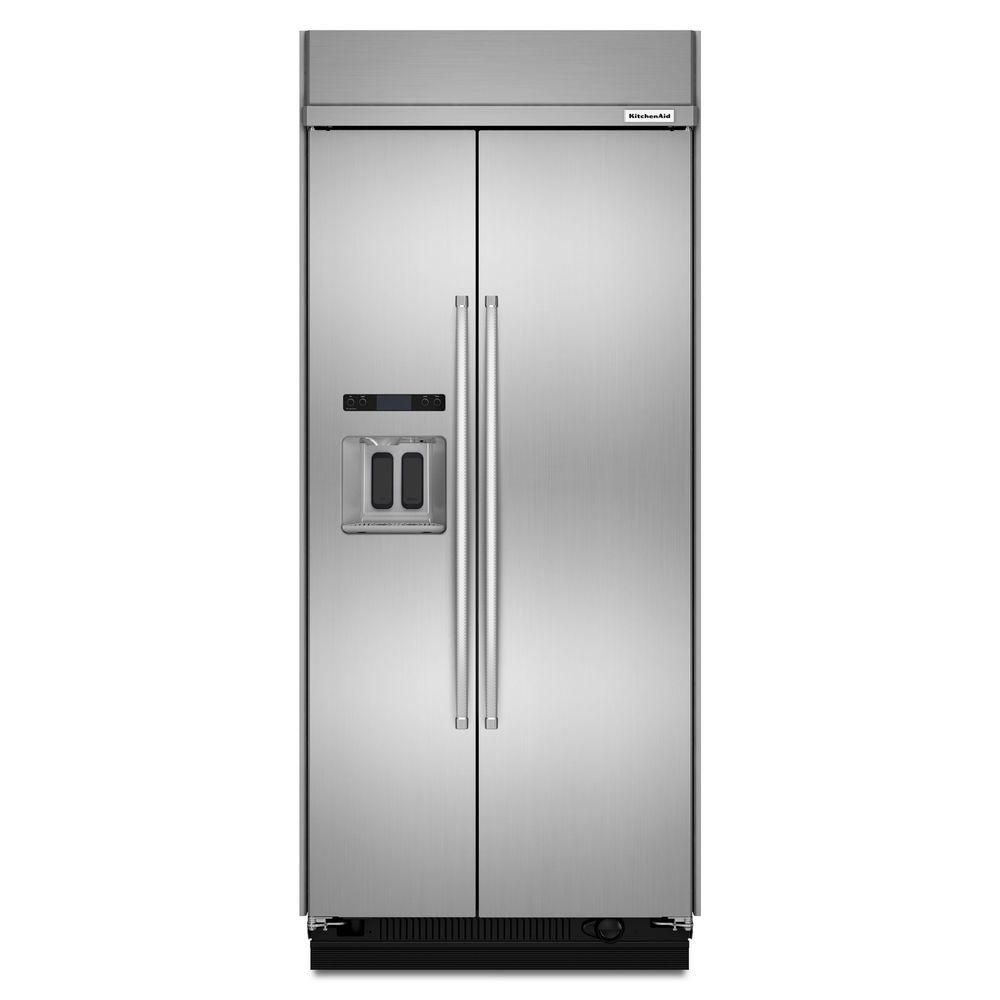Kitchenaid cu ft builtin side by side refrigerator in