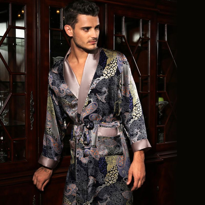 Multi color paisley floral print mens silk sleep robe luxury ...