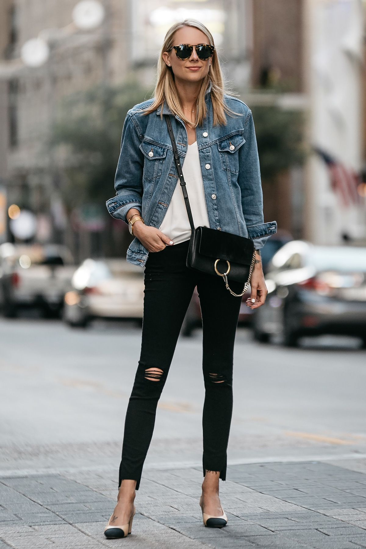 22f9466f22ef Blonde Woman Wearing Topshop Oversized Denim Jacket Frame Black Ripped  Skinny Jeans Chloe Faye Handbag Chanel Slingbacks Fashion Jackson Dallas  Blogger ...