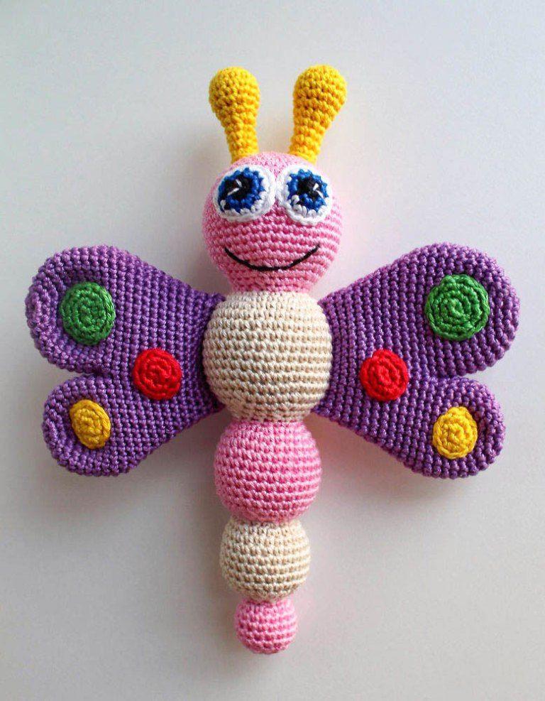 Crochet mariposa bebé traqueteo - patrón libre | Regalos Bebés ...