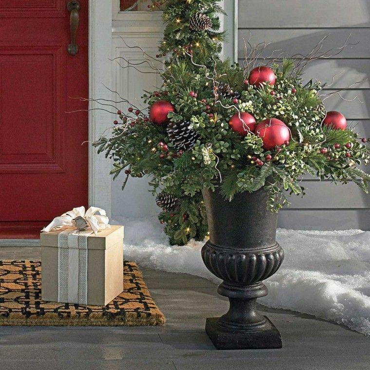 decoracion navidad estilo americano maceta entrada ideas Nadal