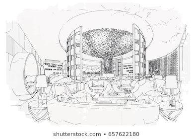 sketch perspective interior. hand drawn sketch pen with