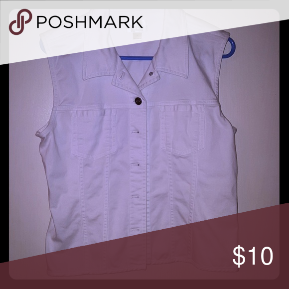 Christopher & Banks white soft denim vest M Love, love this vest!! Just too large! Would love to find 1 in a small!! In perfect condition! Christopher & Banks Tops Button Down Shirts