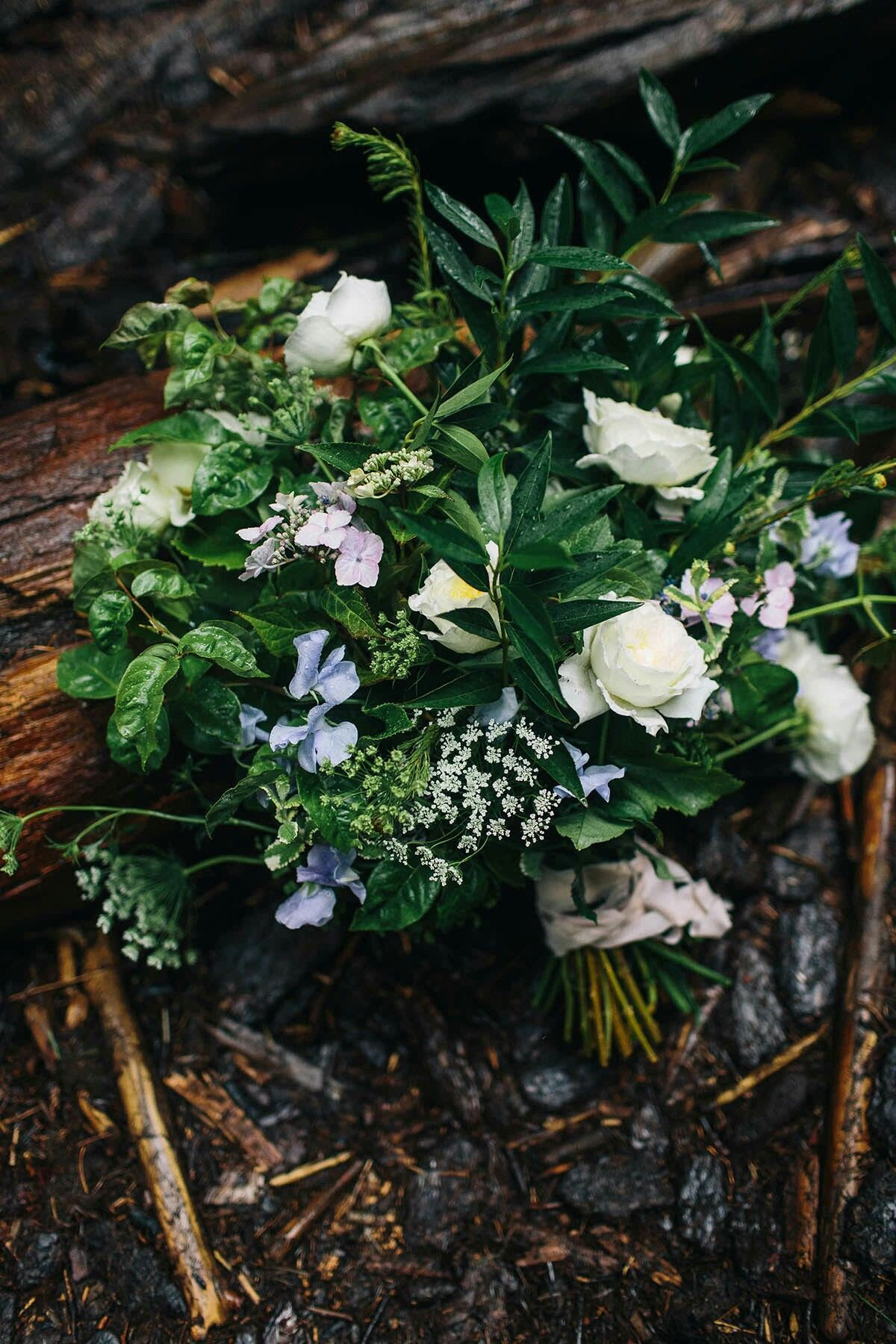 Gorgeous Hand Tied Wedding Bouquet Featuring: White/Lavender/Pastel Pink Florals + An Array Of Greenery/Foliage  --  Jess Hunter Photography
