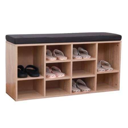 Natural Wooden Shoe Cubicle Storage Entryway Bench with