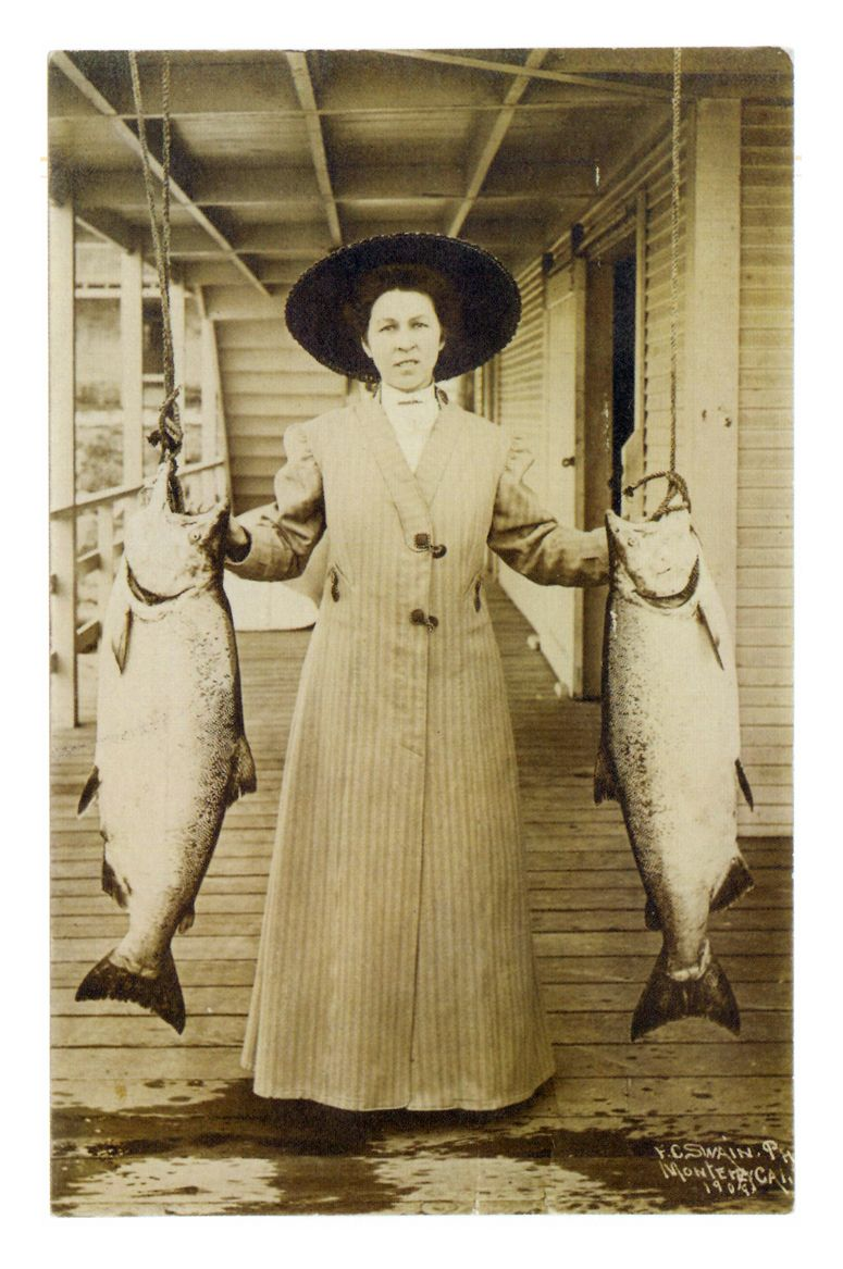 antique lady with her catch fishing postcard. Black Bedroom Furniture Sets. Home Design Ideas