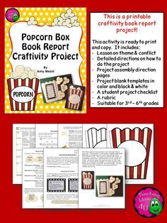 popcorn box craftivity book report project for 3rd 6th grades teaches the theme conflict