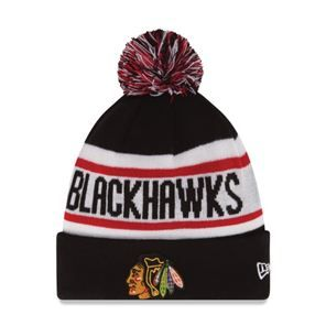 watch 0e013 7989f New Era Chicago Blackhawks Youth Black Biggest Fan Redux Knit Hat with Pom