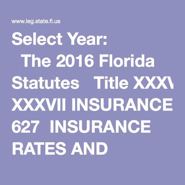 Select Year The 2016 Florida Statutes Title Xxxvii Insurance