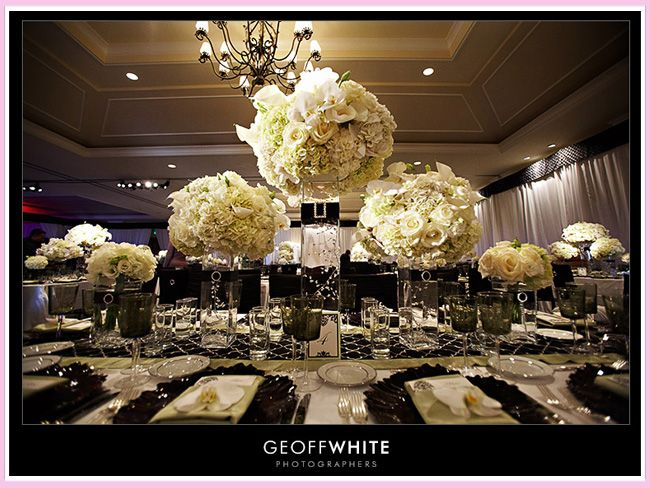 Image Detail For Black White Wedding Table Design With Centerpieces