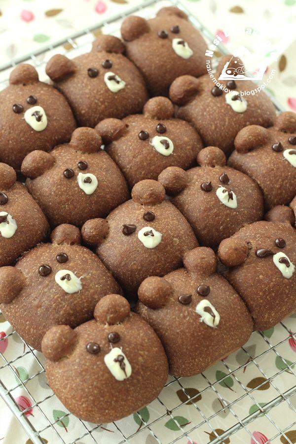 Bear wholemeal Pull-Apart bread_Natural yeast天然酵母_小熊小面包 ...