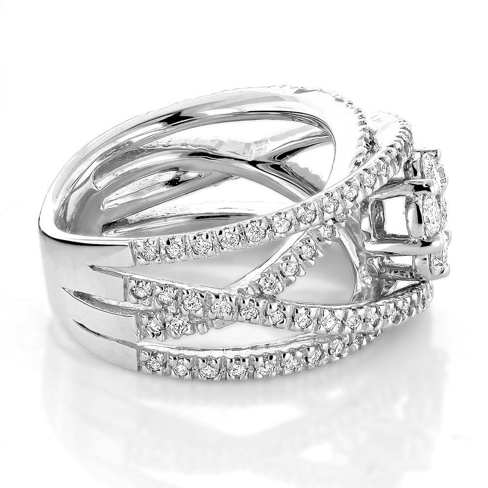 Criss Cross Flower Rings 14K Gold Right Hand Diamond Womens Ring ...