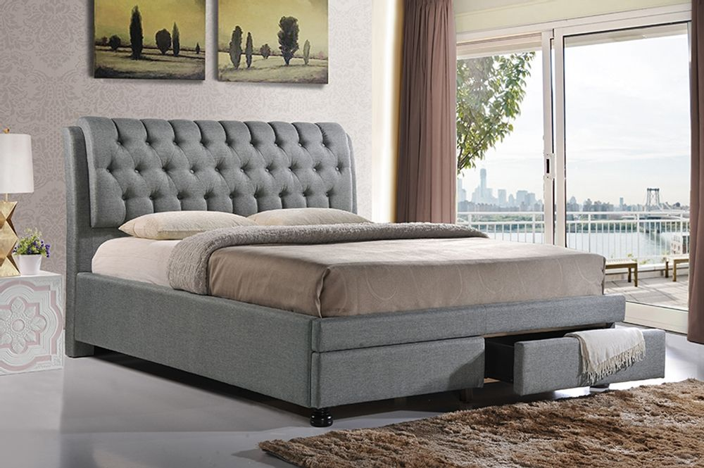 king bed with drawers. Baxton Studio Ainge Contemporary Button-Tufted Grey Fabric Upholstered Storage Queen-Size Bed With King Drawers H