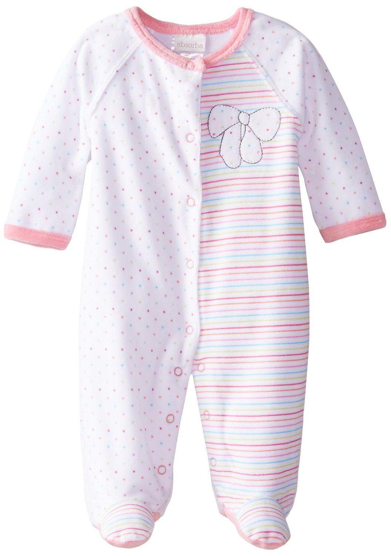 2d7bd4a5e80e Amazon.com  ABSORBA Baby-Girls Newborn Bow Velour Footie  Clothing ...