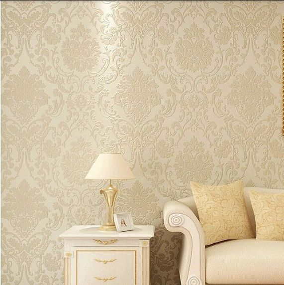 Vintage Classic Beige French Modern Damask Feature Wallpaper Wall