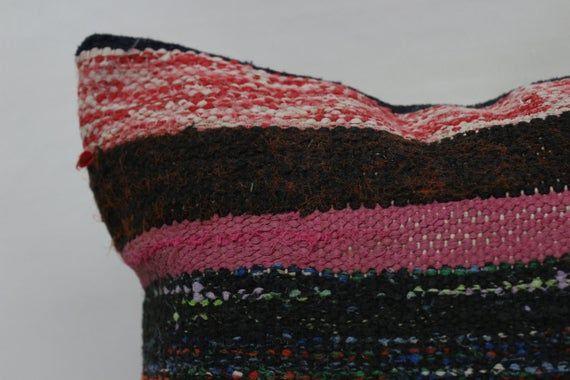 18x18 Ottoman Kilim Pillow, Indoor Pillow, Square Pillow Cover, Throw Pillows, Floor Pillow, Pink Pi