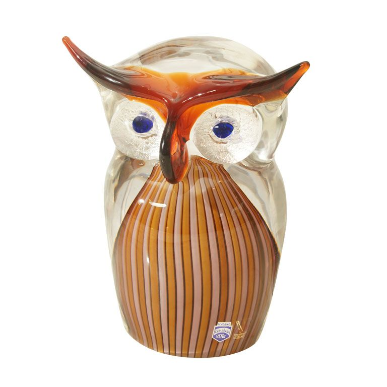 Murano Brown Art-Glass Owl Bird Figurine