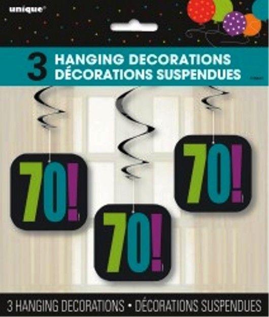 70th Birthday Cheer 70 Hanging Party Swirl Decoration