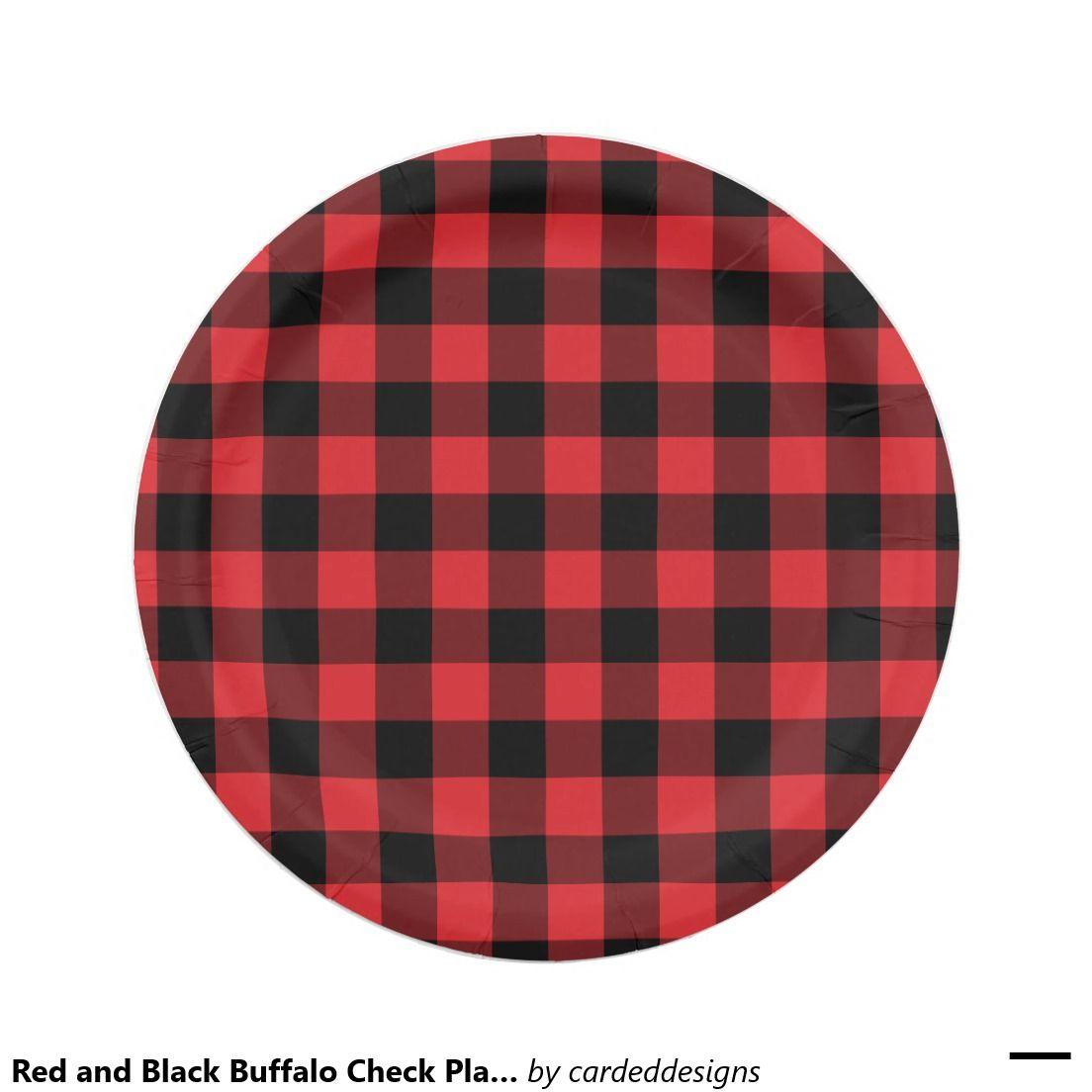 Red And Black Buffalo Check Plaid Pattern Paper Plate Zazzle Com Buffalo Check Plaid Plaid Pattern Red And Black Plaid