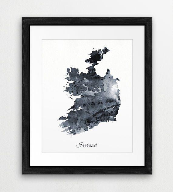 Ireland watercolor map ireland watercolor grey black white ireland watercolor