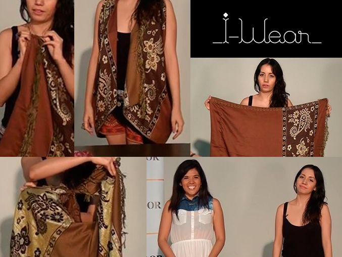 DIY Make a vest only with a long scarf or any fabric! no cuts or needle need it / Hazlo tu misma! hacer un chaleco sin cortes, aguja o costura, solo con un chal - rebozo - tela