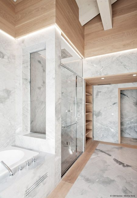 Mix Marble Wood Bathroom Gorgeous Townhouse Interior