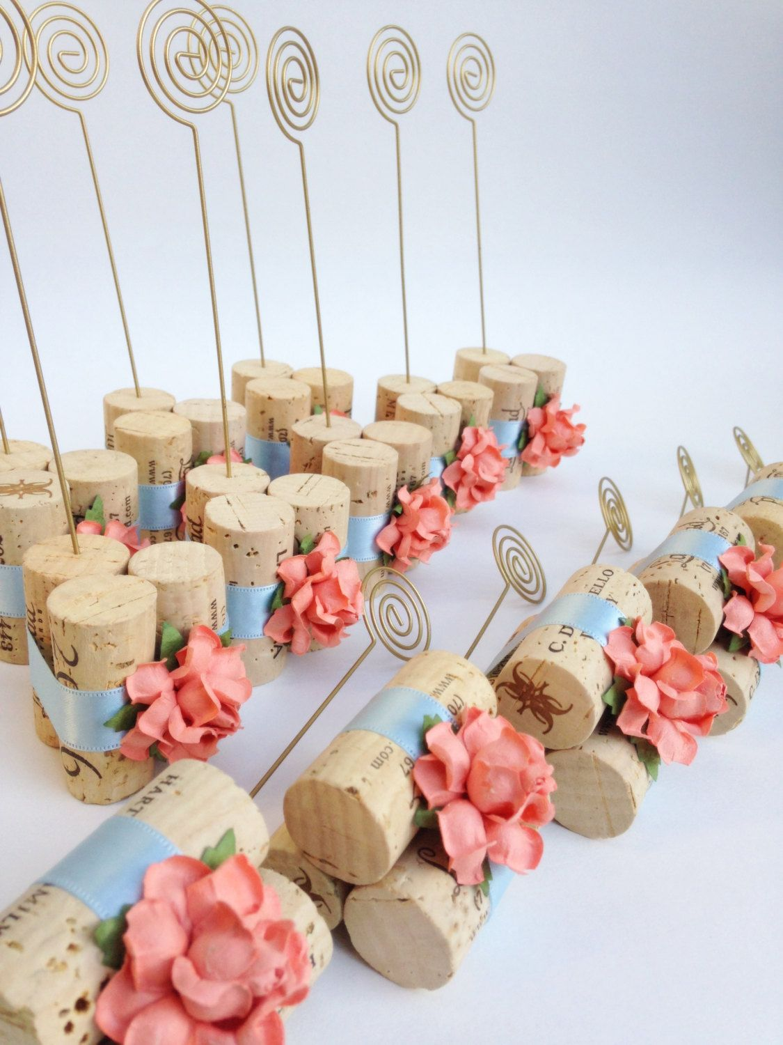 Table Number Holder In Gold W Peach Flowers Powder Blue Satin Ribbons Rustic Wedding