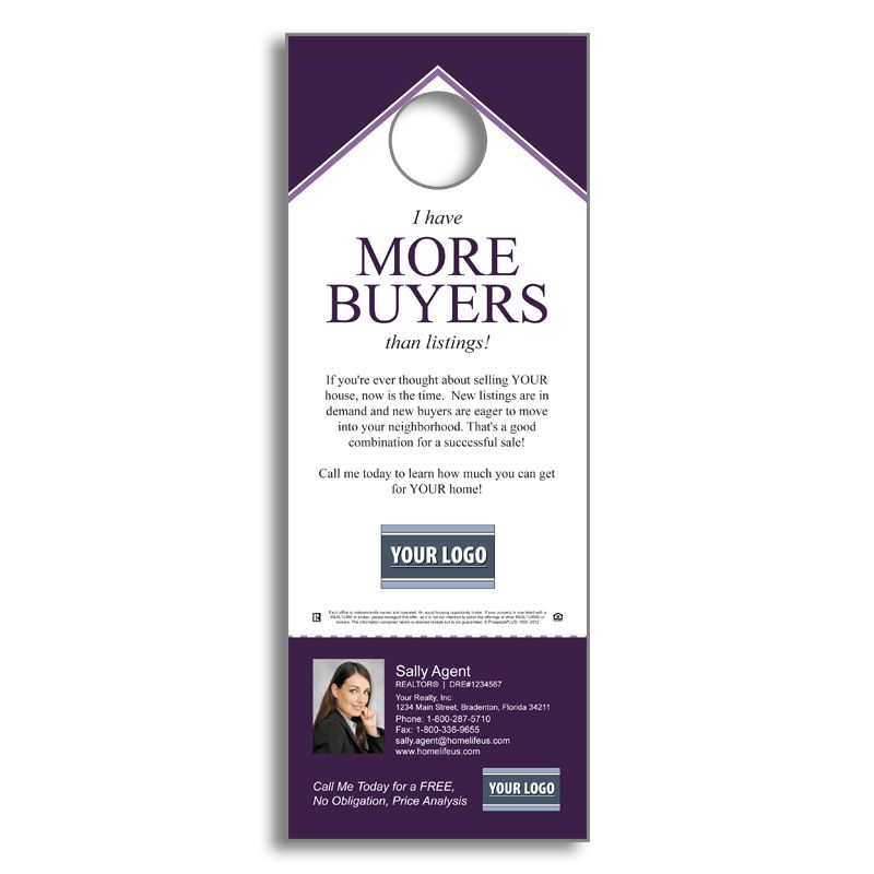 Real Estate Listing Inventory  We Have Buyers  Door Hanger