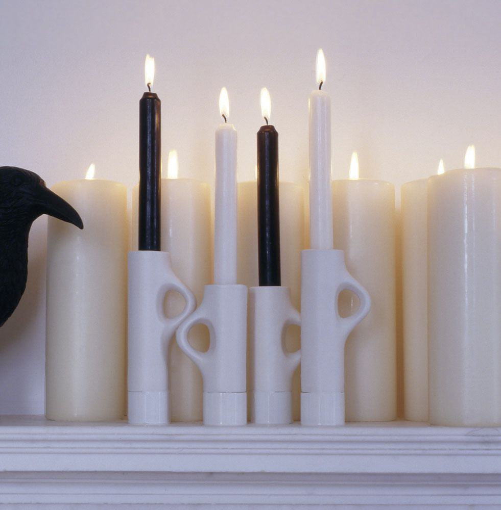 Glazed ceramic candle holder metal lys by jakob wagner bub