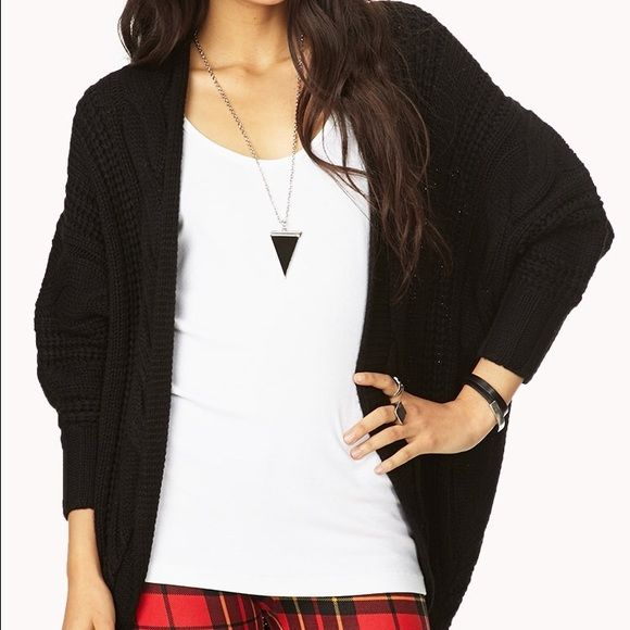 Forever 21 chunky black cardigan | 21st, Coats and Customer support