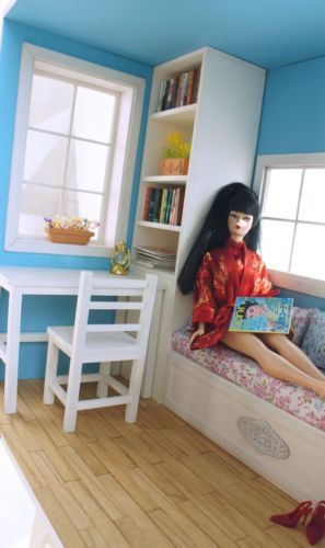 Room Box With Solid Wood Flooring Funitures For 1 6 Scale Doll Barbie Ebay With Images Barbie Room Room Box Barbie Furniture