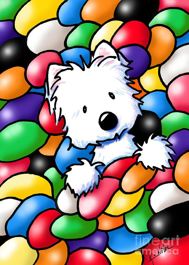 Jelly Beans Westie Terrier Drawing