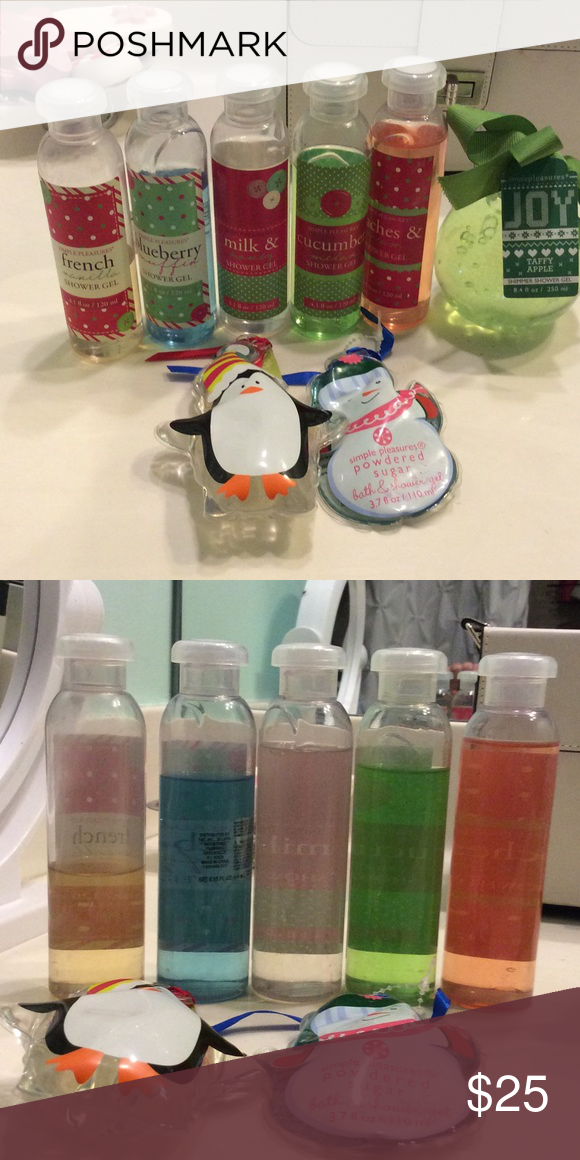 Simple pleasures shower gel MAKE OFFERS French vanilla, blueberry muffin, milk and honey, cucumber melon, peaches and cream, taffy apple (ball), penguin, and powdered sugar (snowman) shower gels. Makeup