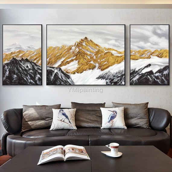 Set Of 2 Wall Art Mountain Peaks Modern Abstract Landscape Etsy Gold Abstract Painting Mountain Wall Art Modern Abstract Painting