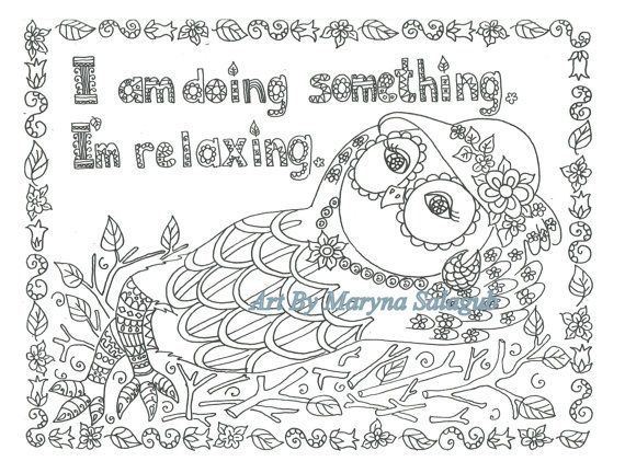 Coloring page relaxing owl Download print color Digital file ...