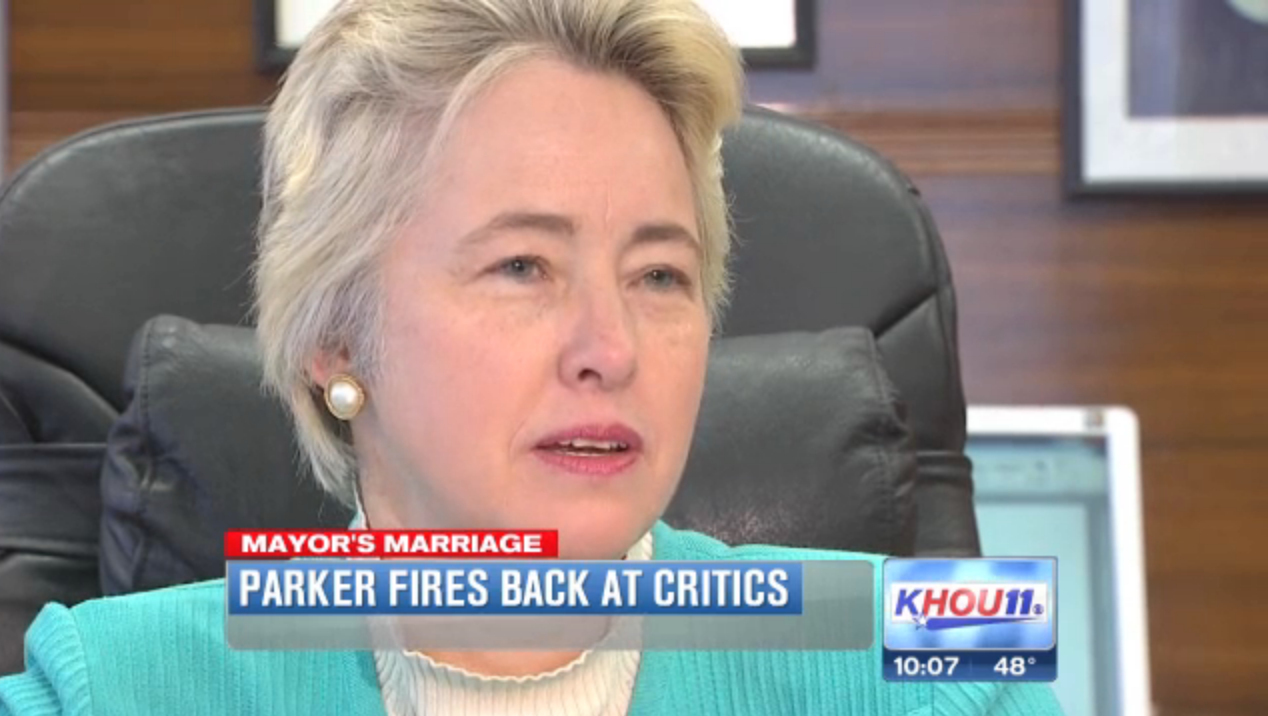 WATCH  Mayor Annise Parker responds to criticism of wedding  tells Dan  Patrick  Jared Woodfill to  get over it    Lone Star Q  that s the  thing  they just. WATCH  Mayor Annise Parker responds to criticism of wedding  tells