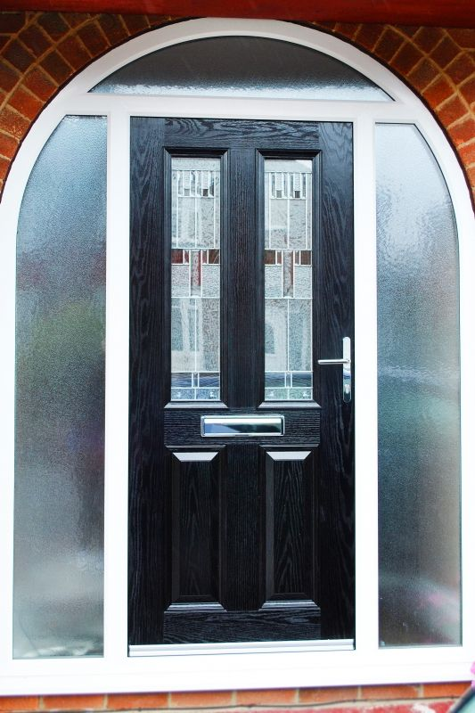 Contemporary Altmore Composite Door In Black With Zinc Prairie Gl Design And Arched Side Panels Consisting