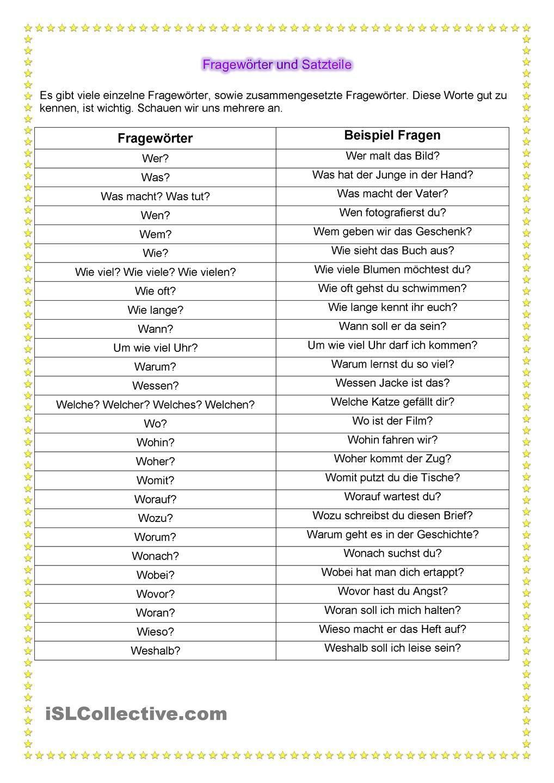 Fragewörter und Satzteile | Satzbau, Hilf mir und Deutsch