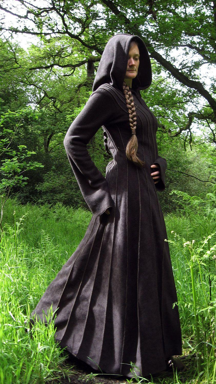 Elven Girl Wallpaper Floor Length Druid Coat Long Black Coat Long Coat
