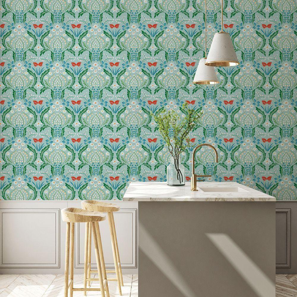 Scandi Floral Self Adhesive Wallpaper In Teal By Tempaper In 2021 Removable Wallpaper Self Adhesive Wallpaper Burke Decor