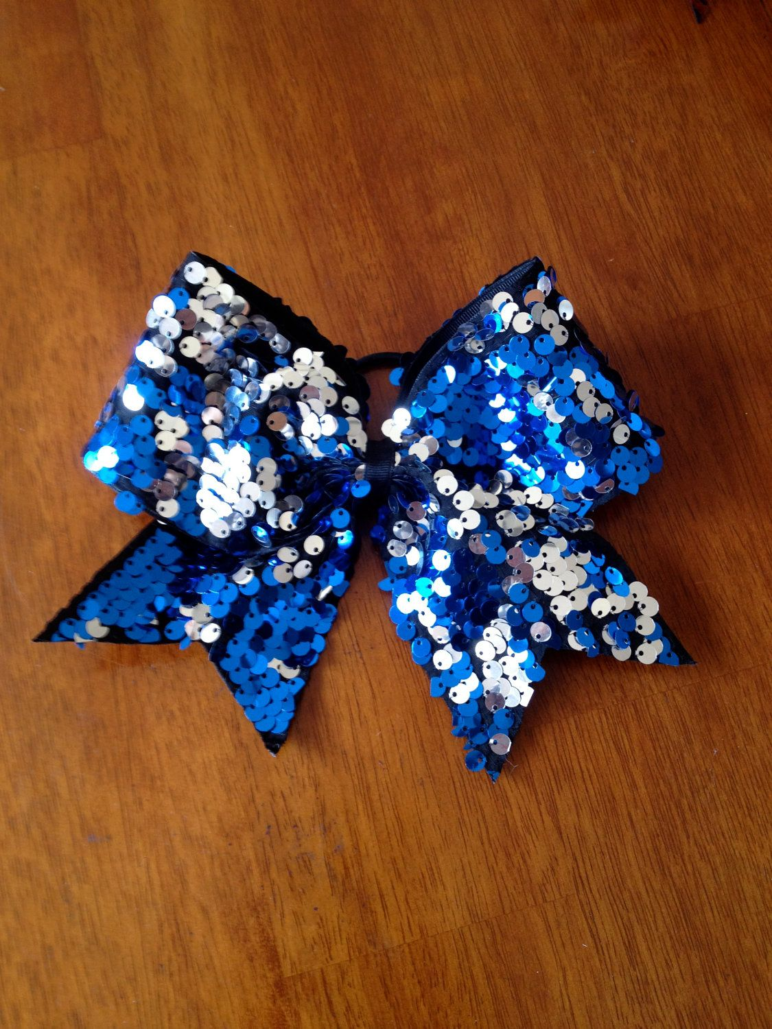 ef0a443a9a Royal and Silver Sequins Cheer Bow.  20.00